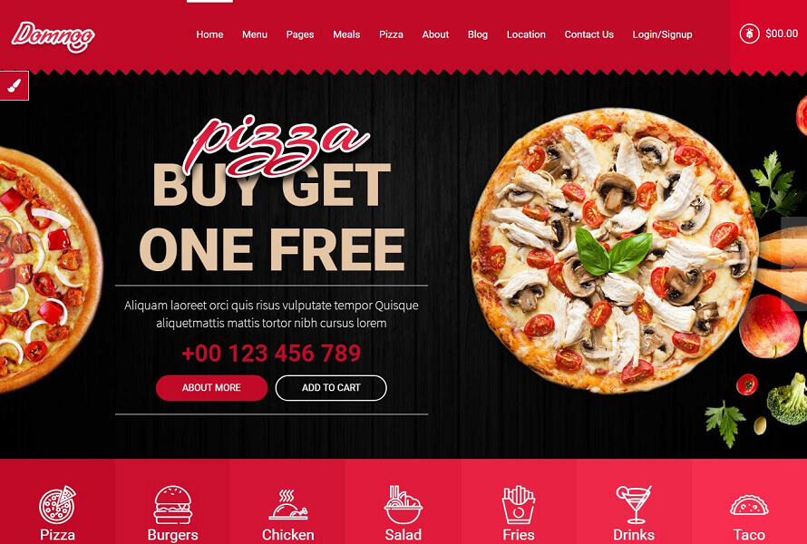 Template HTML pour restaurant et pizza Dominoo