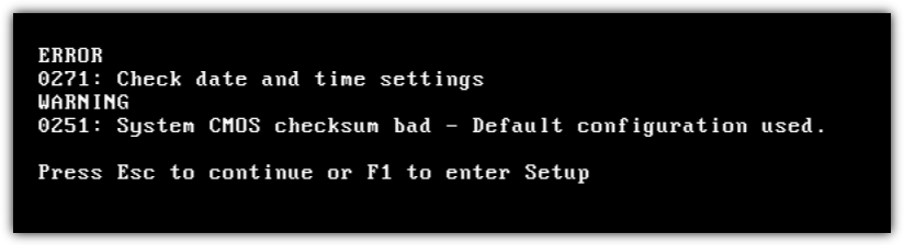 Erreur de somme de contrôle du BIOS