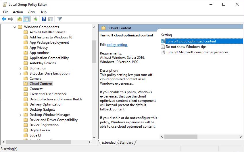 désactiver le contenu optimisé pour le cloud