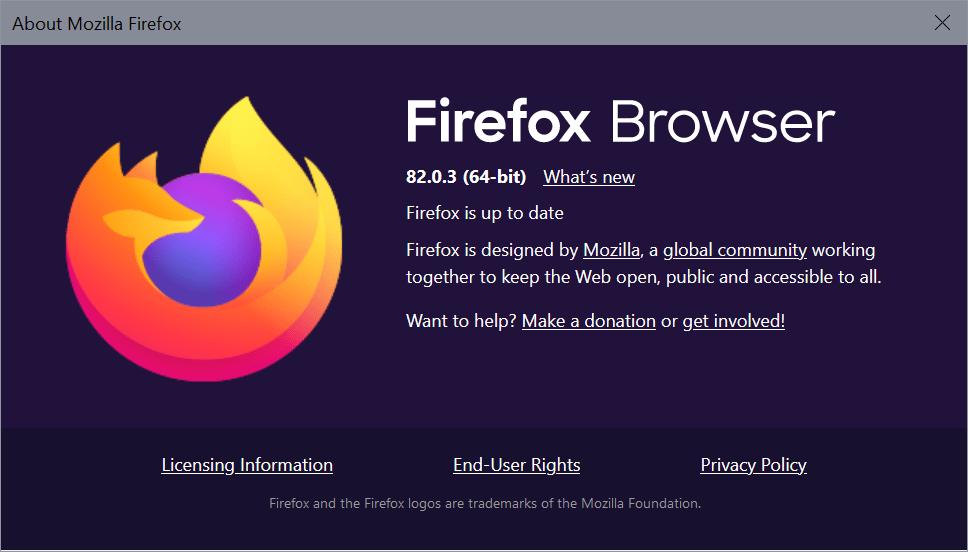 mozilla firefox 82.0.3