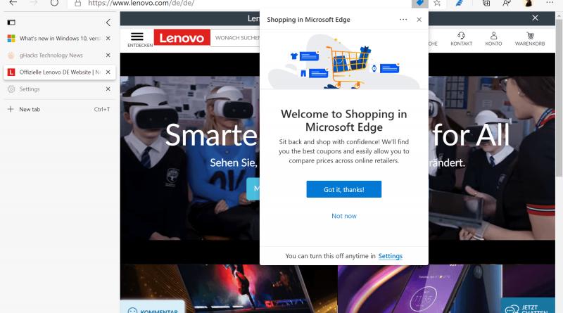 Microsoft Edge's newest feature? Shopping in Microsoft Edge