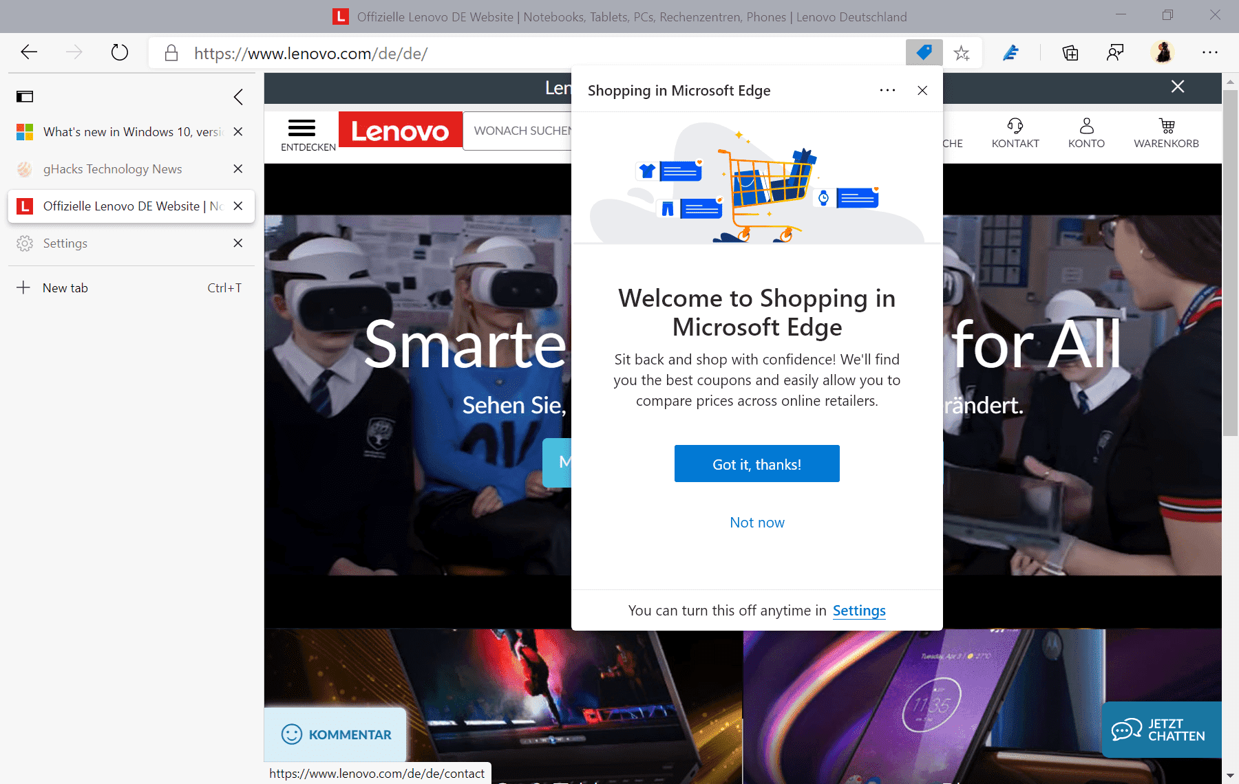 achats Microsoft Edge