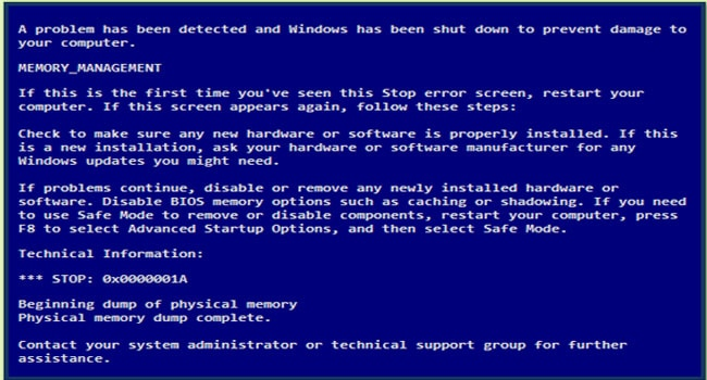 Blue Screen of Death BSOD Memory Management