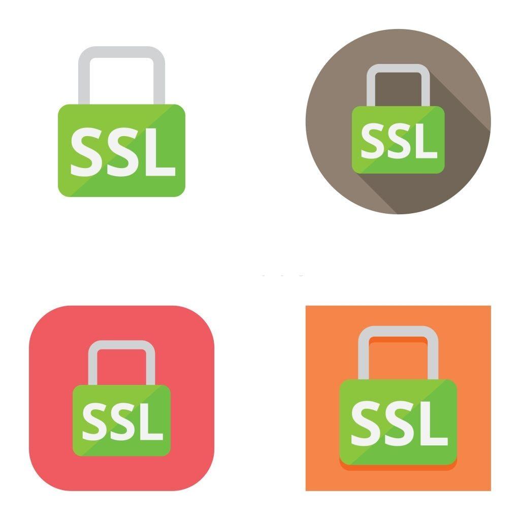 Icônes de cadenas SSL simples et vectorielles sur différents arrière-plans