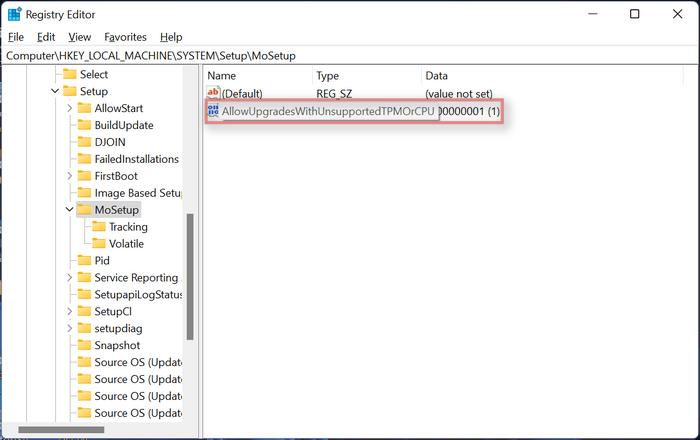 Autoriser les mises à niveau avec TPM ou CPU non pris en charge